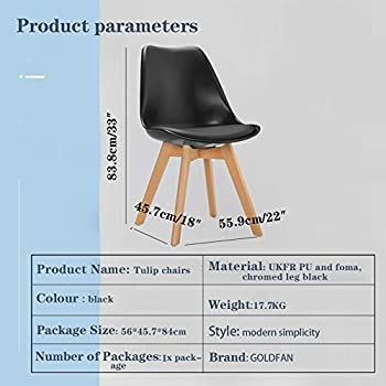 GOLDFAN Dining Chairs Set 4 Modern Kitchen Living Room Wood Dining Chairs with Cushioned for Office Lounge, Black