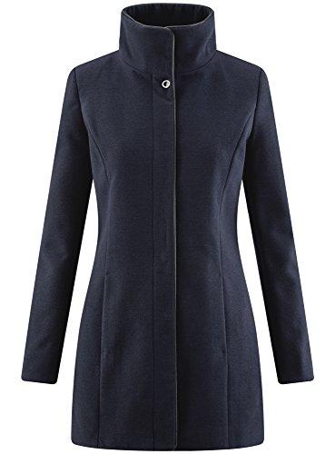 oodji Collection Damen Mantel mit Stehkragen und Lederimitat-Besatz Blau (7929B)