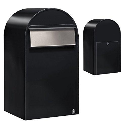 Bobi Grande B Briefkasten RAL 9005 strukturschwarz, Klappe aus Edelstahl Zaunbriefkasten