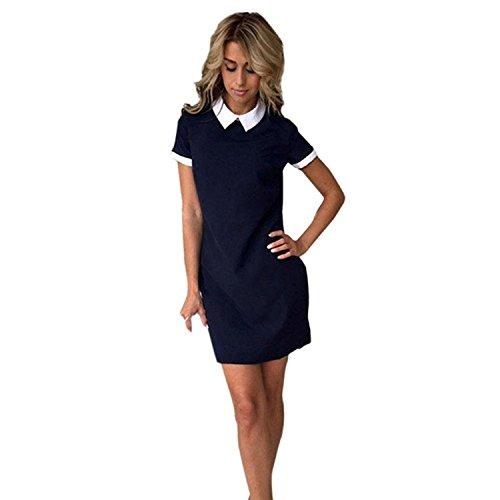 Minetom donna estate casual semplice colore solido manica corta button collo abito corto mini vestiti camicia vestito navy blau it 48
