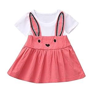 Ropa Bebe Niña Verano Fossen Recién Nacido 1 a 4 Años Princesa Vestido de Manga Corta Orejas de Conejo de Dibujos… 1