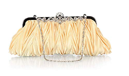 SFHTFTRGJRYJ Damen Falten Abends Packs Kleider Kupplung Satin Handtaschen Dekorative Geldbörse High Mode Living End Vintage Elegant Festlich Party Abendtasche (Color : Champagner, Size : One Size) -