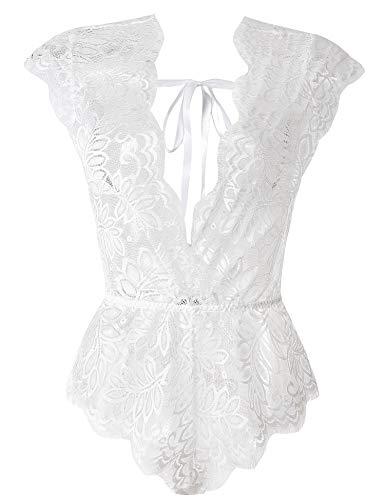 LALAVAVA Damen Sexy Dessous V-Ausschnitt Teddy Babydoll Wimpern Floral Lace Bodysuit - Weiß - XX-Large -