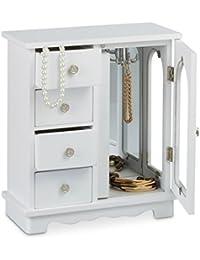 Relaxdays Boîte à bijoux HxlxP: 30 x 26 x 11 cm grande armoire à bijoux en bois avec 4 mini tiroirs et 1 porte avec un miroir commode écrin cintre à bijoux porte-bijoux pour les chaînes, blanc
