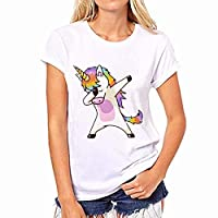 Size L Unicorns T-Shirt Women Cute Cartoon Horse Printed Tshirt Soft Short Sleeve Women White Tops for Girls