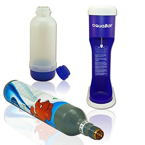 aquabar BLAU+ 1x CO² Zylinder + ummantelte Glasflasche wie Soda Wasser Stream Maxx