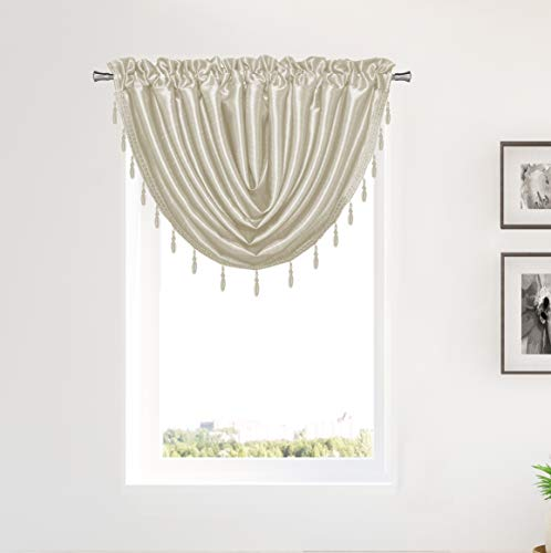 Duck River Textile Sensations Beaded Trim Waterfall Curtain Valance Set for Small Kitchen Window, Cafe, Bath, Laundry or Bedroom, 50 X 37 Inch, Beige
