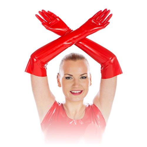 Rubberfashion Lange Latex Handschuhe extra dick, Latexhandschuhe bis zum Ellenbogen mit veredelter...