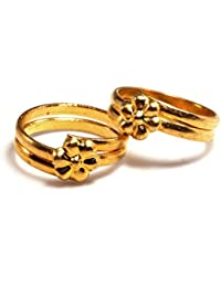 Daily Use Metal Alloy (Panchaloha) Toe Ring for Women- 2 Round with a Flower on Top