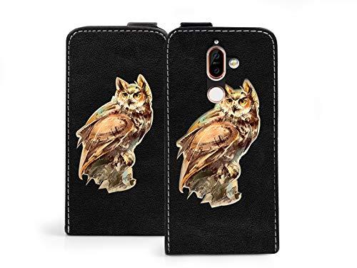 etuo Nokia 7 Plus - Hülle Flip Fantastic - Eule - Handyhülle Schutzhülle Etui Case Cover Tasche für Handy