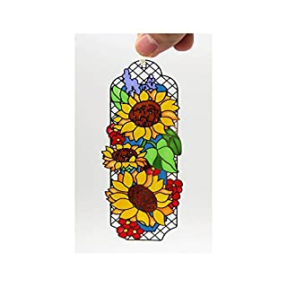ACEVER Metal Bookmarks with Hand Paint on Art Glass Tiffany Sunflower