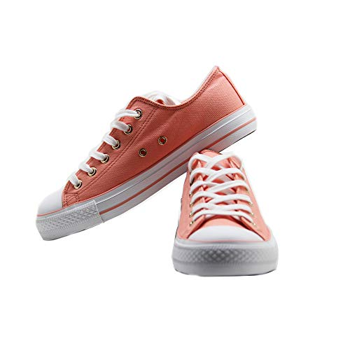 Hotroad Donna Scarpe da Ginnastica Tennis Corsa Basket Running Walking Sportive Fitness Low-Top Classic Sneakers Moda Classica Estiva Casual all'aperto per Adulto, Canvas – Rosa / 36 EU