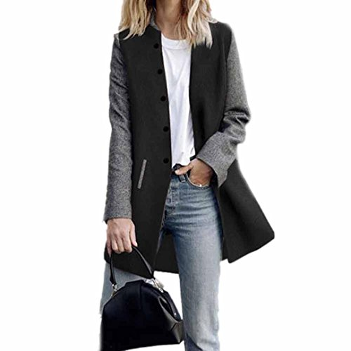Toamen Women's Cardigan Long Coat with Contrast Colour Stitching Long Sleeve Casual Light Weight