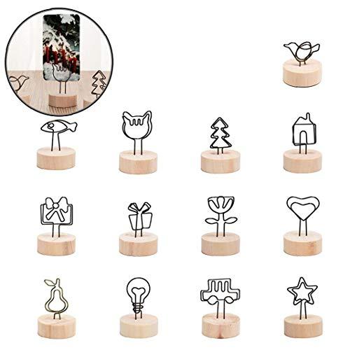 Angoter 5 Stück Rundholz Foto Klipp-Protokoll-Namenskarten-Anhänger-Halter Nachricht Hinterlassen Supporter Bilderrahmen-Tabellen-Zahl-Hochzeits-Foto-Halter
