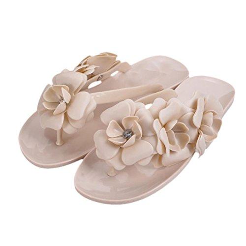 Sandali da donna,Bohemia Heel piatto Infradito scarpe da spiaggia Pantofole femminili Cachi