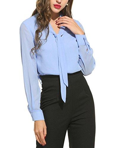 Blusen Damen Langarmshirt Oberteile V-Ausschnitt Flare Hülse Elegant Chic Lose Vintage Hemd Tuniken T Shirt Einfarbig Plain Casual Freizeit (Vintage Flare Jeans)