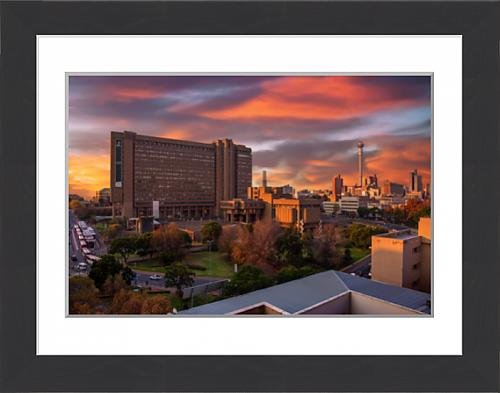 framed-print-of-sunset-view-of-city-council-building-and-hillbrow-tower-jg-strijdom-tower