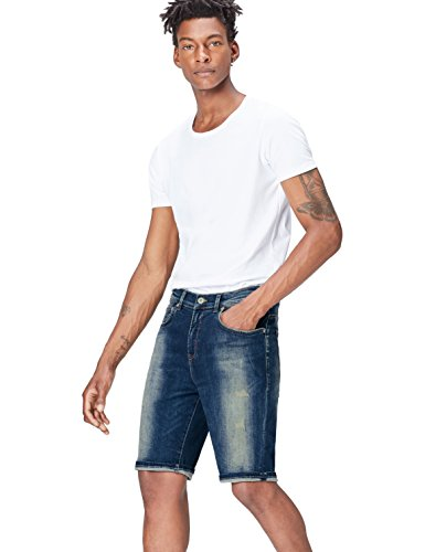FIND Herren Denim-Shorts im Distressed-Look, Blau (Hardin Damaged Wash), X-Large