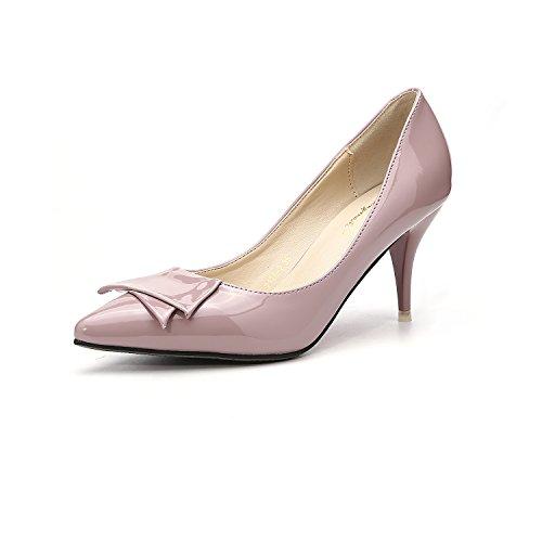 Punta appuntita della alta scarpe tacco ed eleganti a tacco alto scarpe con fine Pink Bow Tie donne singoli pattini Raw Color