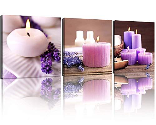 SotRong Art Zen Leinwandbild, Spa Stillleben mit lila Aromatherapie Kerzen und Zen Stein Aroma Lavendel Blume Gemälde Bilder Kunstdruck auf Leinwand fertig zum Aufhängen -