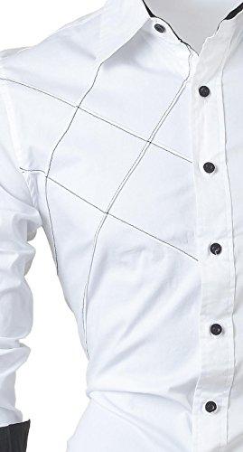 jeansian Herren Freizeit Hemden Shirt Tops Mode Langarmlig Men's Casual Dress Slim Fit 2028 2028a_White