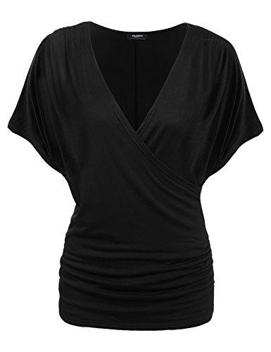 Zeagoo Damen V-Ausschnitt T-shirt Kurzarm Batwing Fledermaus Sommer Shirt Tunika Bluse(EU 38(Herstellergröße:M), Schwarz