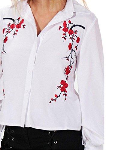 à Fleurs Broderie Brodée Brodé Col Boutonnée Boutonné Boutons Sur le Devant Coton Manches Ballon Manches Longues Blouse Chemisier Shirt Chemise Haut Top Blanc Blanc