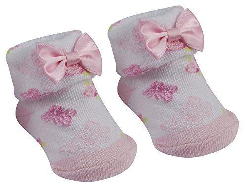 Newborn Baby Girl Pois Motivo floreale Bow Booties Calze Regalo Set 0-12 FLOWER BOOTIES 6-12 mesi