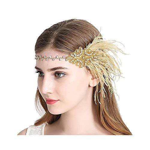 AmDxD Damen 20er Jahre Zubehör Set Flapper Kostüm-Set Feder Stirnband 20s Kostüme Inspiriert Accessoires Gelb