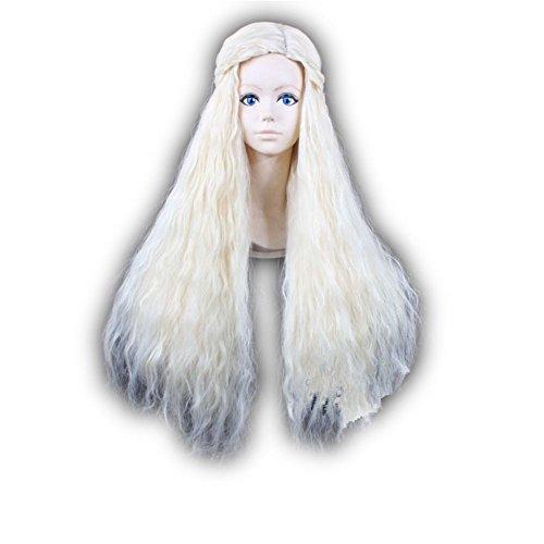 COSPLAZA-traje-de-Cosplay-pelucas-de-Juego-de-Tronos-Daenerys-Targaryen-Khaleesi-brbaro-Beige-Rubio-mechones-de-pelo-largo-ondulado