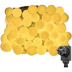 LE 10M Kugel Lichterkette 100er LEDs, 8 Lichtermodi mit Merkfunktion, Warmweiß, ideal für Weihnachtsdeko, Party Dekolampe usw.