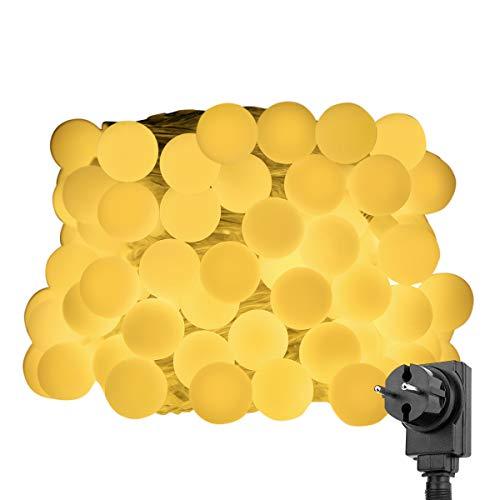 LE Guirnalda de luces Led Bolas 10m 100 LED, Enchufe y Programador, 8 Modos, Blanco cálido, decoración de casa, Fiestas, luces de Navidad