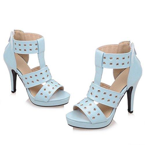 COOLCEPT Damen Fashion Kristallbolzen Sandaletten Glitzer High Heels Stilett Stilettos Zipper Party Blau