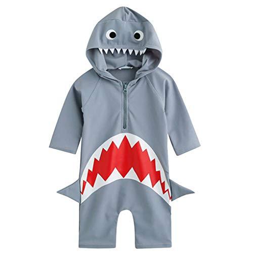 Plzlm 1pc Karikatur-Kind-Strand-Badeanzug-Kinder mit Kapuze Schöner Frontreißverschluss Badebekleidung Baby-Schwimmen-Bodysuit
