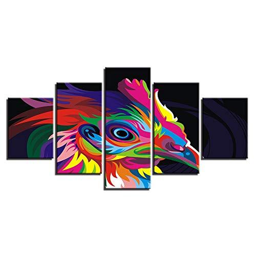 Immagini di Arte della Parete della Tela di Canapa modulari Decorazione Domestica 5 Pezzi Colori Animale Eagle Living Room HD Moderna Poster Stampa