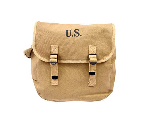 World War Replica- WWII US Army M1936 Haversack- Musette Field Bag Military Back Pack Canvas Backpack- with Shoulder Strap-Khaki Tactical - Canvas Long Strap Handtasche