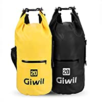 Giwil 20L Premium Waterproof dry Bag, Roll Top Dry Compression Sack with Waterproof Phone dry Bag Case and Dual Long Adjustable Shoulder Strap Included Foldable Backpack for Kayaking Boating Canoeing