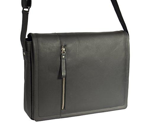 Herren Messenger Leder Tasche Laptop Büro Uni College Vintage Schulter Schulranzen HLG120 Schwarz (Medium Klappe Schulter)