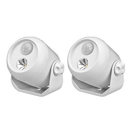 Mr Beams drahtloser, batteriebetriebener LED Mini Scheinwerfer mit Bewegungsmelder und Lichtsensor weiß MB302 (2-er Pack) - Mini-leuchtstoffröhren