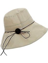 Sombrero del Balde De Las Color Sólido Mujeres Anti Modernas Casual Sombrero  para El Sol Sombrero De Playa Plegable ala Ancha con… 009534373a7