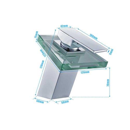 Auralum® Elegant LED RGB Glass Wasserhahn Armatur Chrom Wasserfall Waschtisch Waschtischarmatur für Bad Badezimmer Küchen 3 Farben - 5