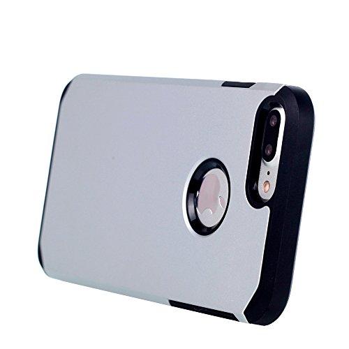 UKDANDANWEI Apple iPhone 7 Plus Double Couche Case Housse Silicone [Bouclier Légère] Etui de Protection for Apple iPhone 7 Plus - Saphir Argenté