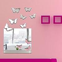 ufengke® 3D Mariposas Block Efecto de Espejo Pegatinas de Pared Diseño de Moda Etiquetas del Arte Decoración del Hogar Plata