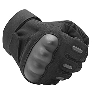 OMGAI Rubber Hard Knuckle Outdoor Gloves - TWZ Outdoor Gloves for Hiking Cycling Motorcycle Black (M)