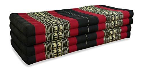 livasia Klappmatratze extrabreit (195cm x 110cm) aus Kapok, Faltbare Gästematratze, klappbare Matratze, asiatische Faltmatratze (schwarz/Elefanten) (Größe Gefüllte Leben Elefant)