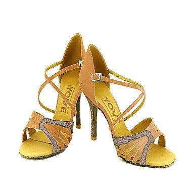Scarpe da ballo Donna - Latinoamericano / Salsa - Customized Heel - Satin / Eco-pelle -Nero / Blu / Giallo / almond