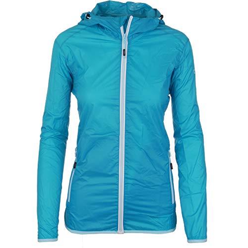 Regenjacke Damen packbar atmungsaktiv und wasserdicht mit Kapuze Outdoorjacke dünn und leicht verstaubar mit 3000 mm Wassersäue von CMP für Sport Monsuna, Größe:38, Farbe:Hellblau-Grau