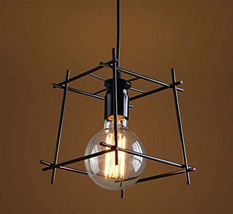 GFFORT lampe de bureau de la personnalité créative nordique simple balcon en fer forgé un restaurant lustre en magasin de vêtements vintage industrie, E27, diamètre 16cm *