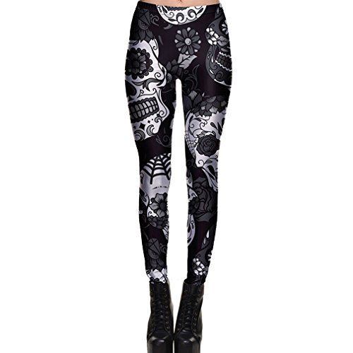 Leggings Pantalón Halloween Cráneo Polainas Moda Impresión Digital del Hueso Fantasma Elásticos Pantalones de Fitness Gótico Skinny de Pantalón de Yoga para Mujer S M L XL 2XL 3XL 4XL