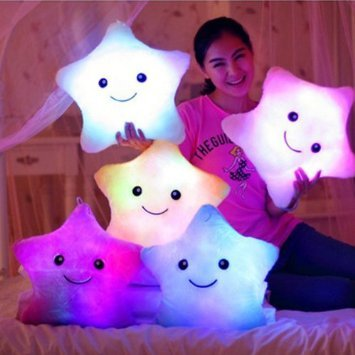 Missley Pilllow LED a forma di stella, colore: rosa - Cuscino di peluche morbido cuscino da viaggio
